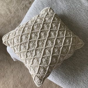 Cream Crochet Throw Pillow